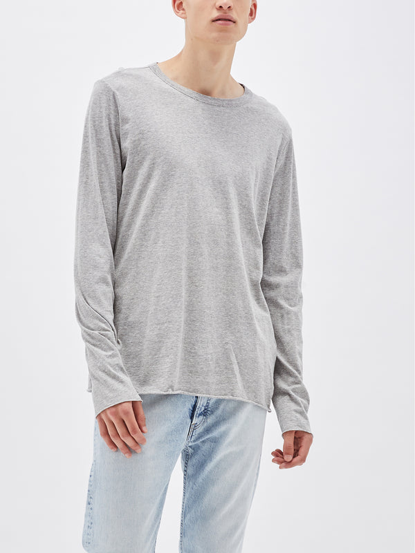 bassike 2 piece wide neck long sleeve t.shirt in grey-marl