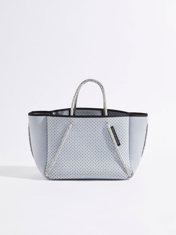 bassike state of escape petite guise denim tote bag in washed-pale-grey