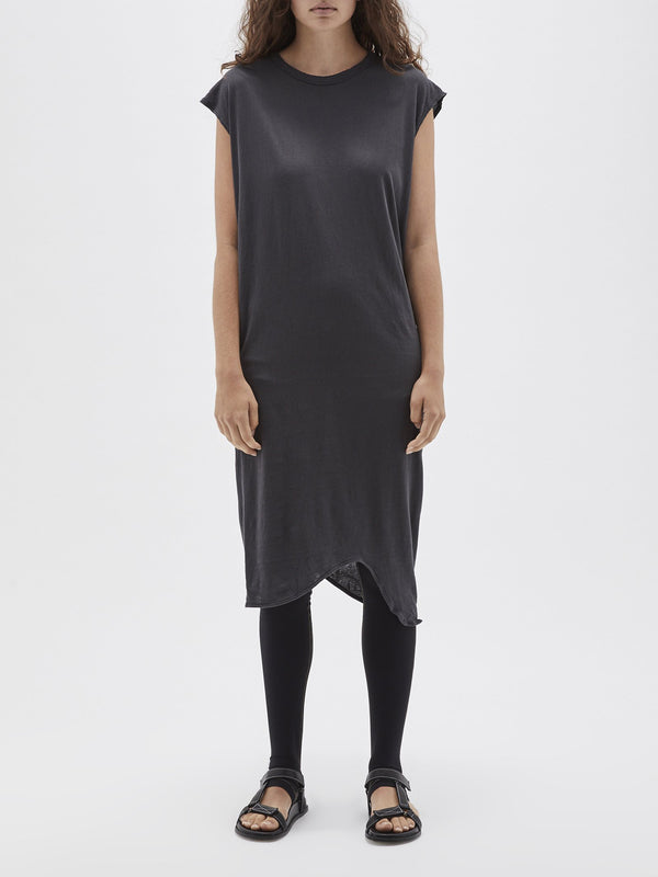 bassike heritage boxy tank dress in washed navy