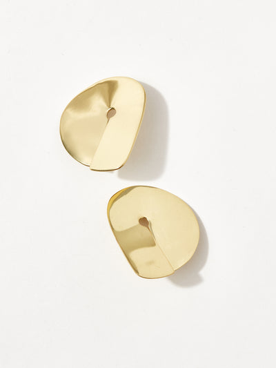 louise olsen shield hoop earrings brass