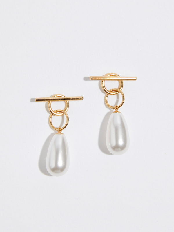 bassike momoko hatano two way tangle gold earrings with pearls in gold plated