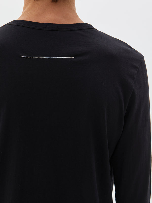 bassike classic heritage long sleeve t.shirt in black