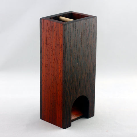 Premium exotic hardwood dice tower made from wenge and padauk.