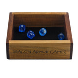 "Walnut and Maple Mini Dice Tray with ""Dragon Armor Games"""