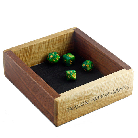 "Maple and Walnut Mini Dice Tray with ""Dragon Armor Games"""