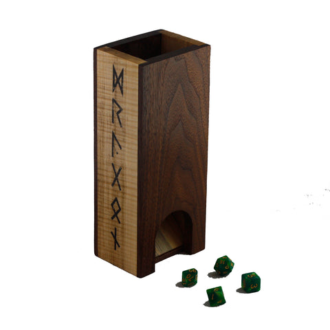 Premium hardwood dice tower made from walnut and maple featuring runes down the sides.