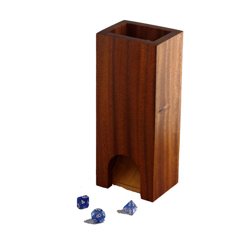 Premium exotic hardwood dice tower made from sapele.