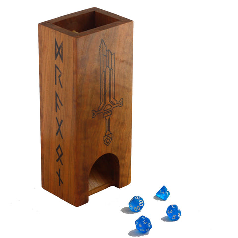 Premium hardwood dice tower made from cherry featuring runes and sword design.