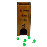 Premium hardwood dice tower made from maple and walnut.  Maple front features runes and a dragon logo.