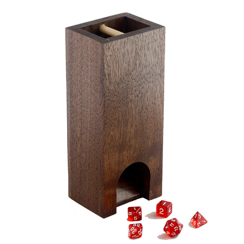 Premium hardwood dice tower made from all walnut.