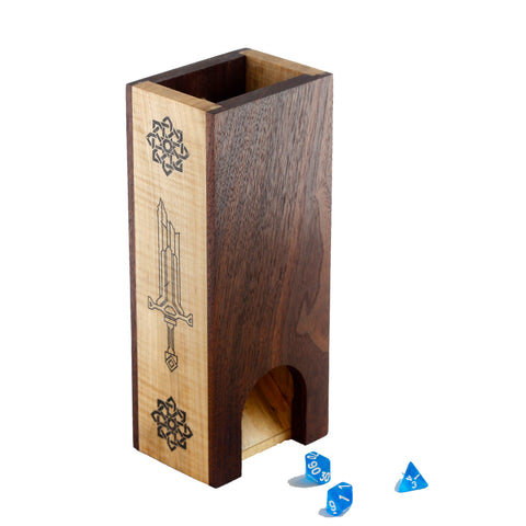 Premium hardwood dice tower made from walnut and maple featuring a sword and knot design down the sides.