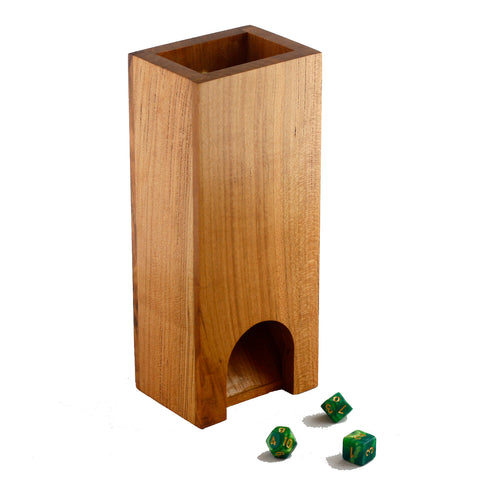 Premium hardwood dice tower made from cherry.
