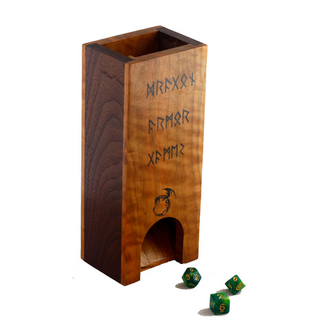Premium hardwood dice tower made from cherry and walnut with runes on the front.  The front and back are made from cherry and the sides are walnut.
