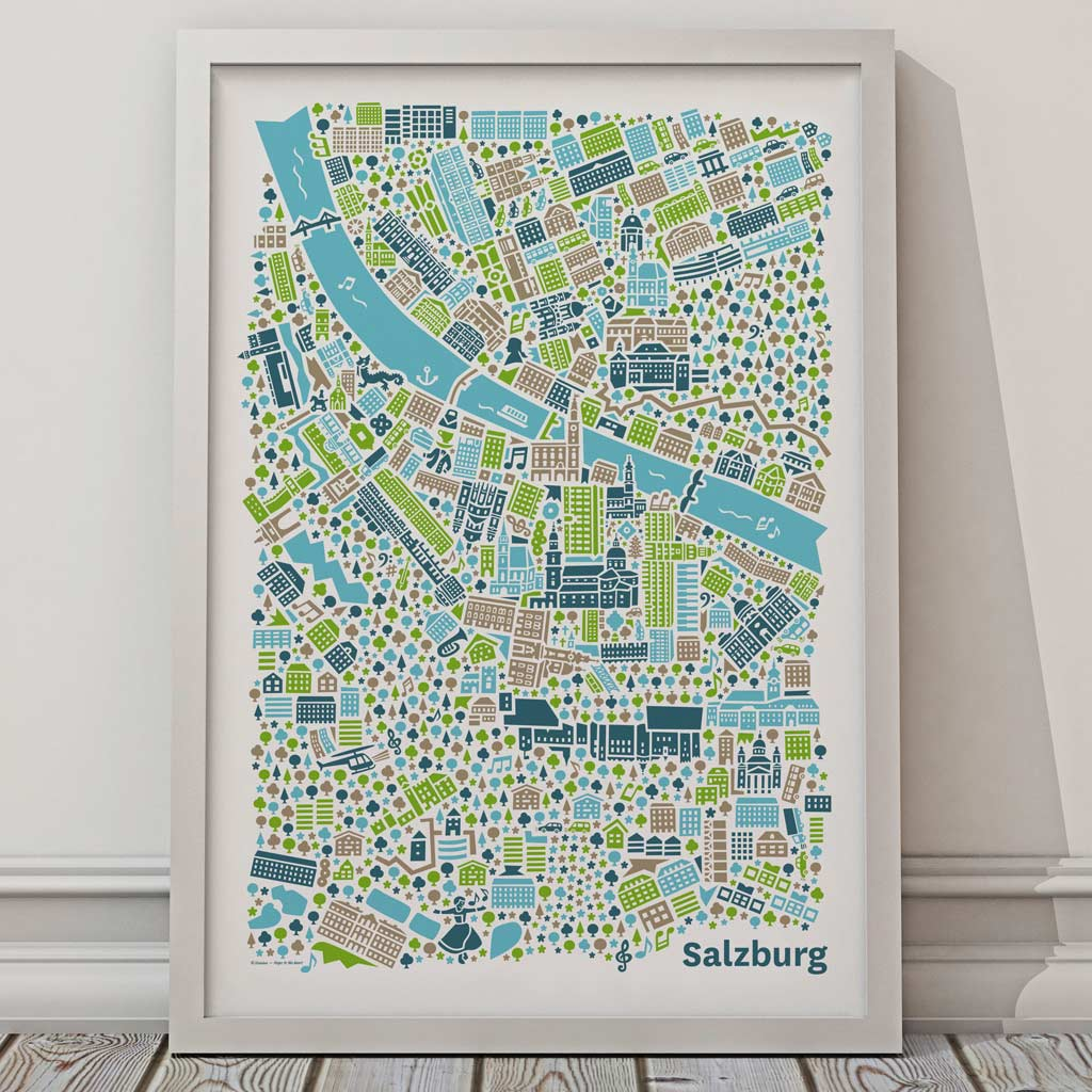 Salzburg Poster Stadtplan Illustration