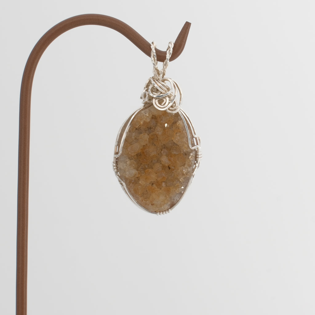 Citrine Crystal Wrapped in Sterling Silver