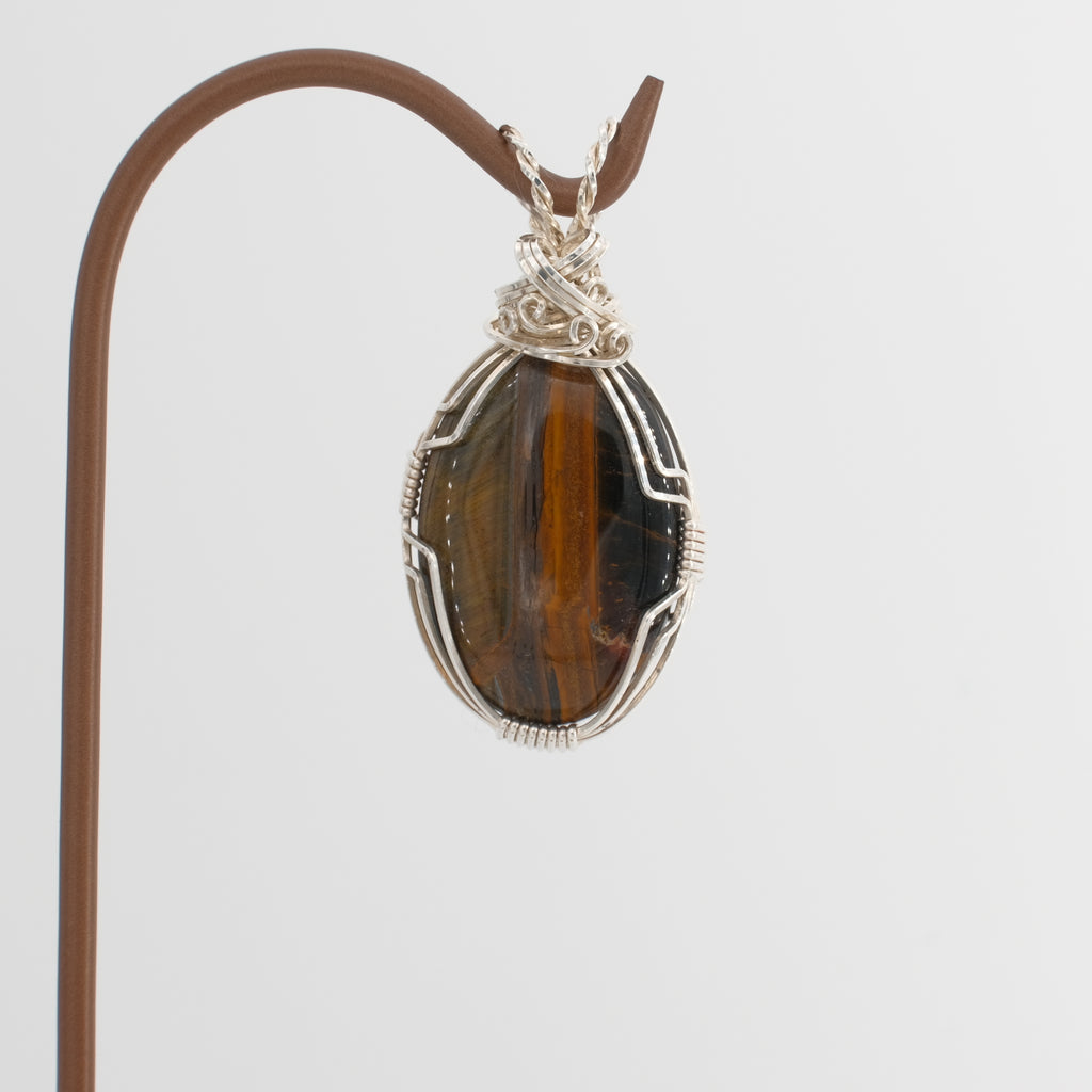 Tiger's Eye Pendant Wrapped in Sterling Silver
