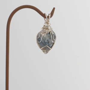Dendritic Jasper Pendant Wrapped in Sterling Silver