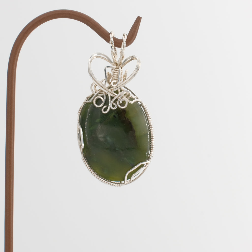 Big Sur Jade Pendant Wrapped in Sterling Silver