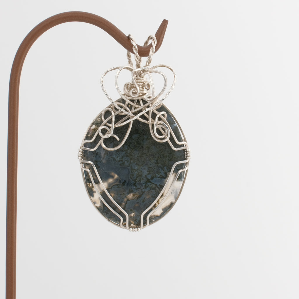 Moss Agate Pendant Wrapped in Sterling Silver