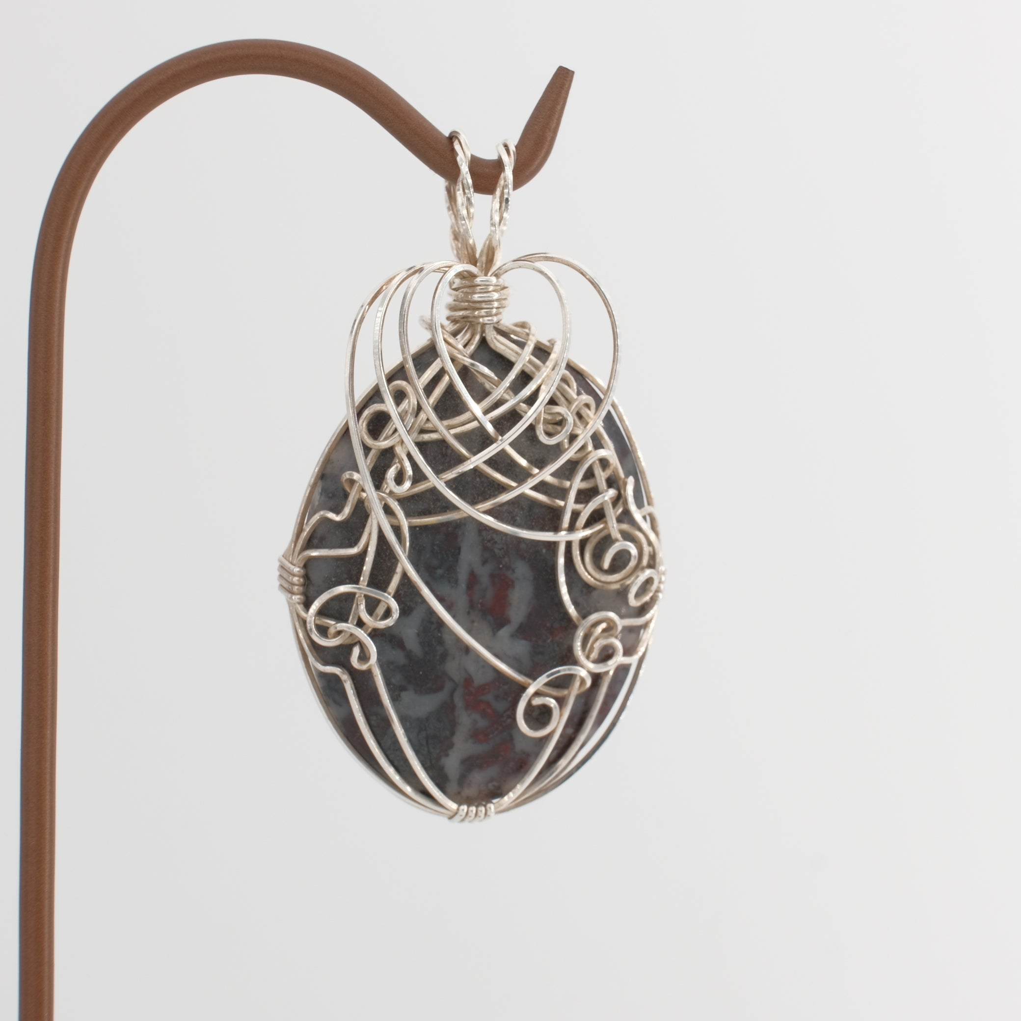 Hand Polished Jasper Cabochon Pendant Wrapped in Sterling Silver