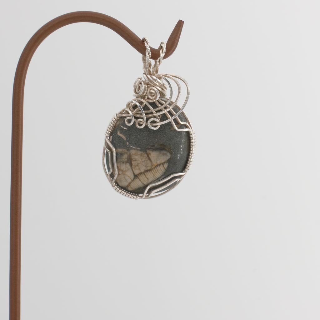 Hand Polished Ocean Fossil Pendant Wrapped in Sterling Silver