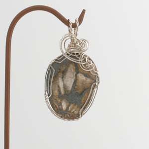 Sterling Silver Wrapped Ocean Fossil Pendant