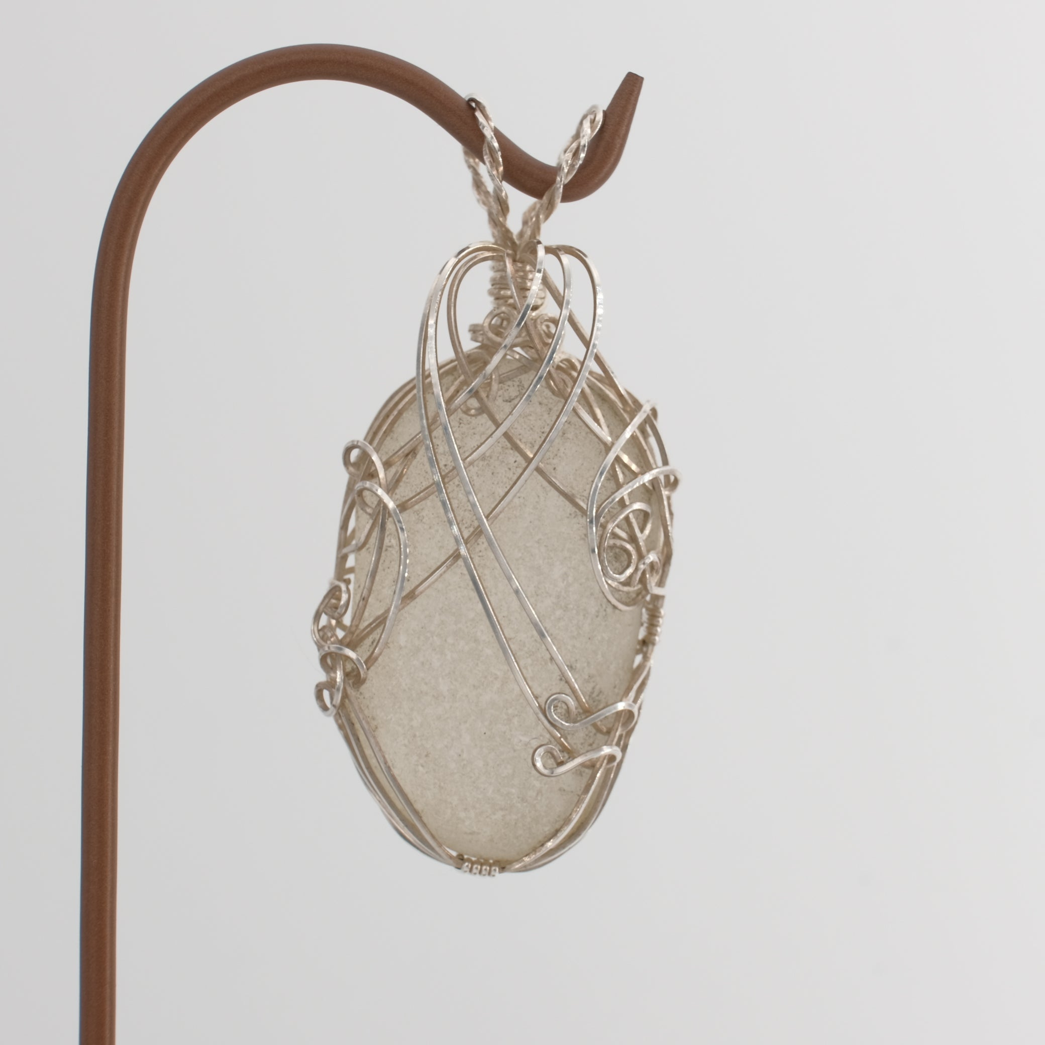 Genuine Very Large White Sea Glass Pendant Wrapped in Sterling Silver
