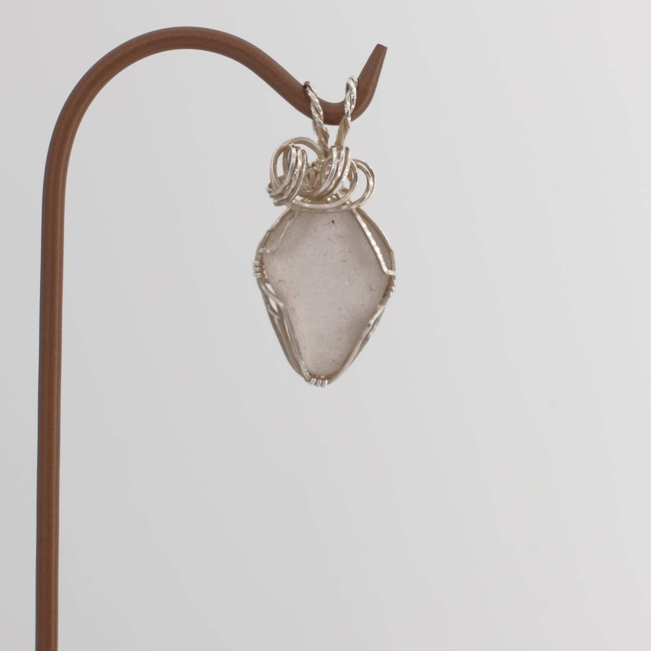 Genuine Lavender Sea Glass Pendant Wrapped in Sterling Silver