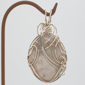 Large Willow Creek Jasper cabochon pendant wrapped in Sterling Silver