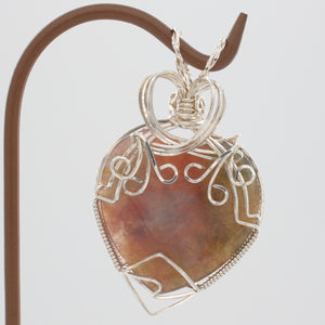 Agate Heart Pendant Wrapped in Sterling Silver