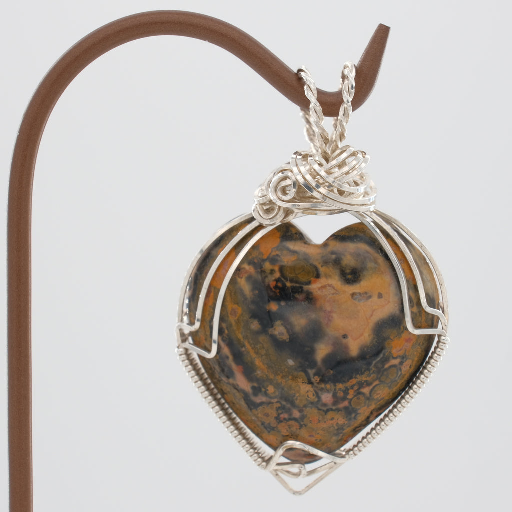 Heart Shaped Leopard Jasper Pendant Wrapped in Sterling Silver