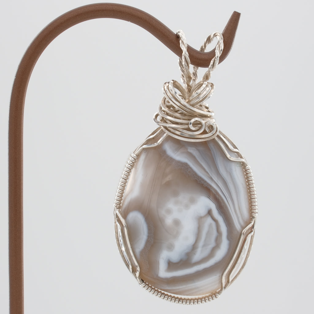 Botswana Agate Pendant Wrapped in Sterling Silver