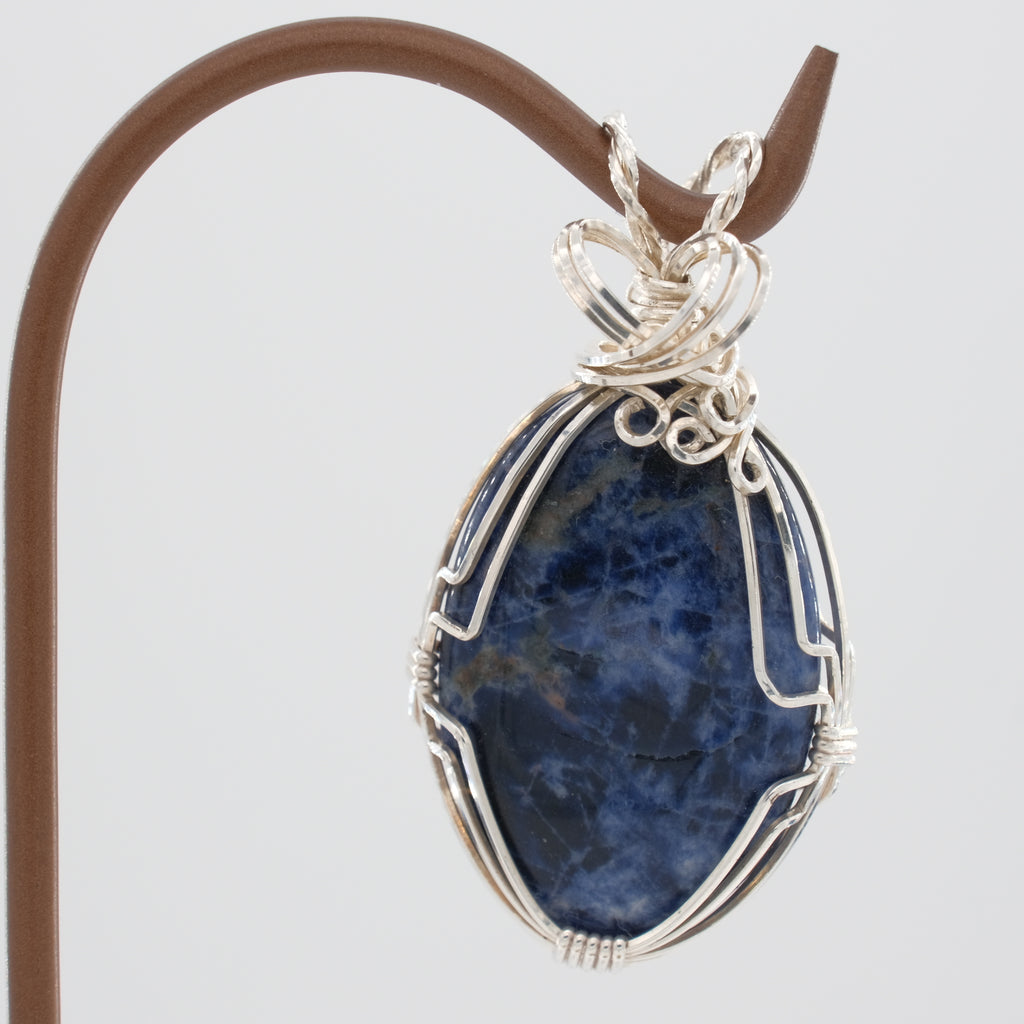 Sodalite Pendant Wrapped in Sterling Silver
