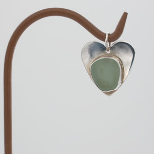 Genuine Sea Foam Green Sea Glass Heart Pendant Set in Sterling Silver