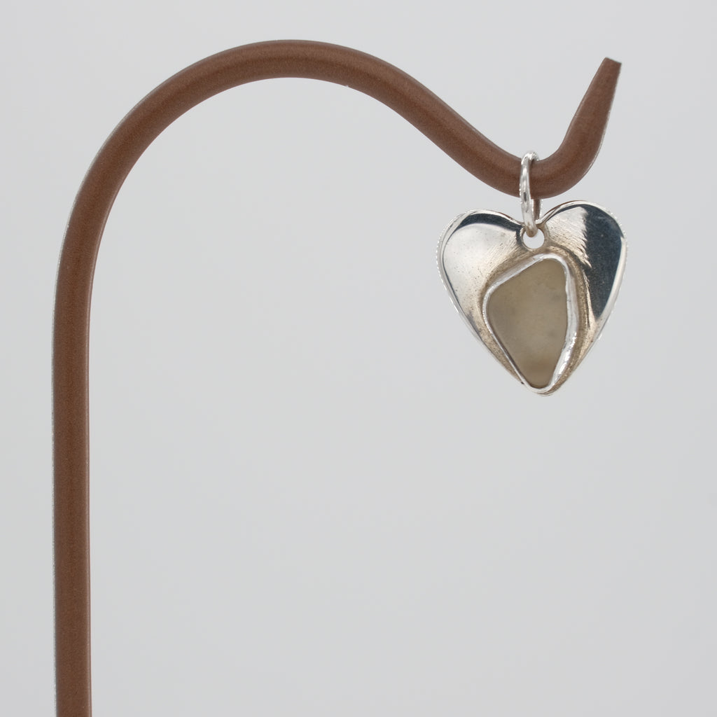 Genuine White Sea Glass  Heart Pendant set in Sterling Silver