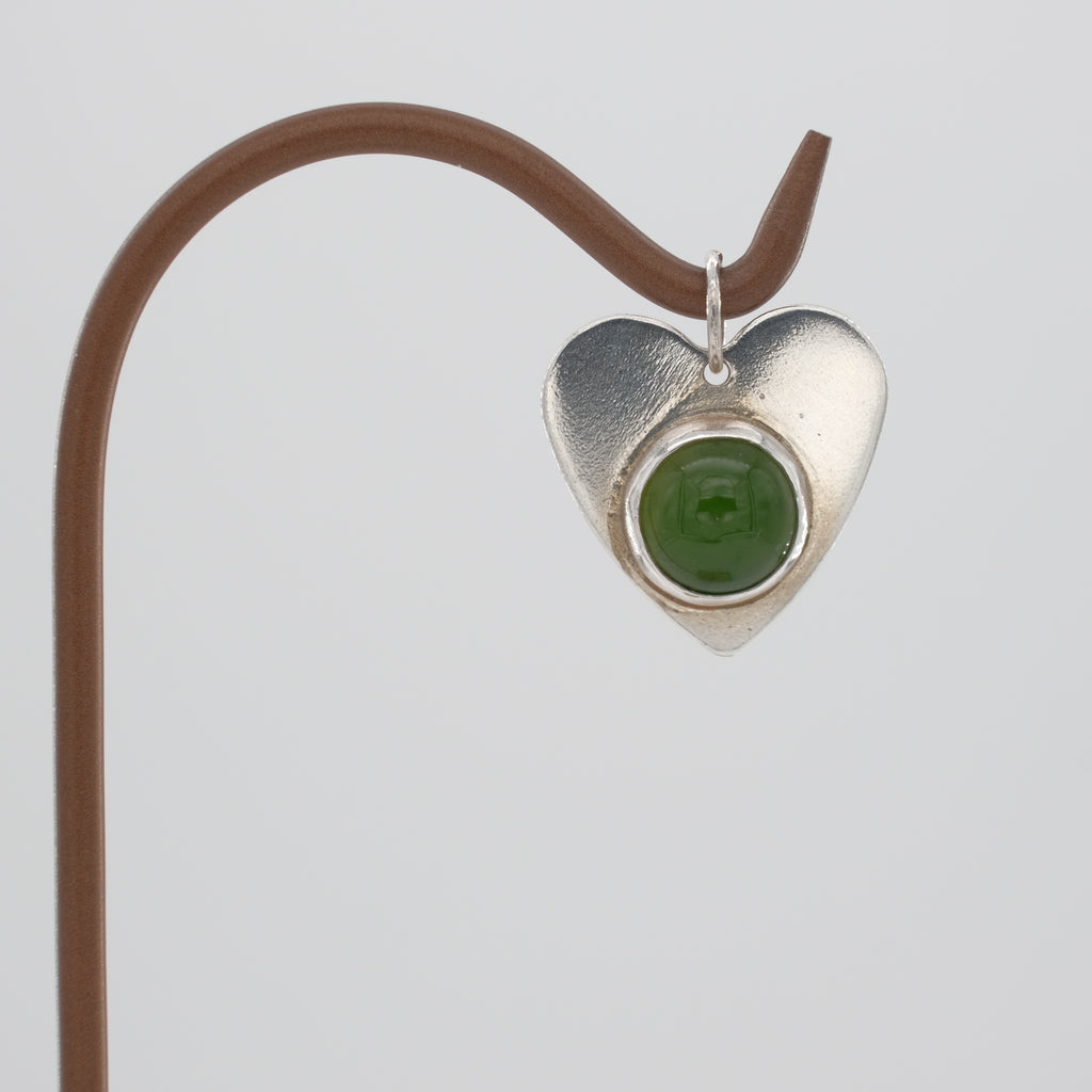 Sterling Silver Heart and Jade Pendant