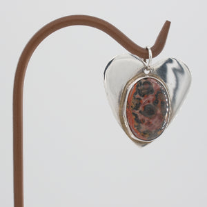 Sterling Silver and Ocean Jasper Heart Pendant