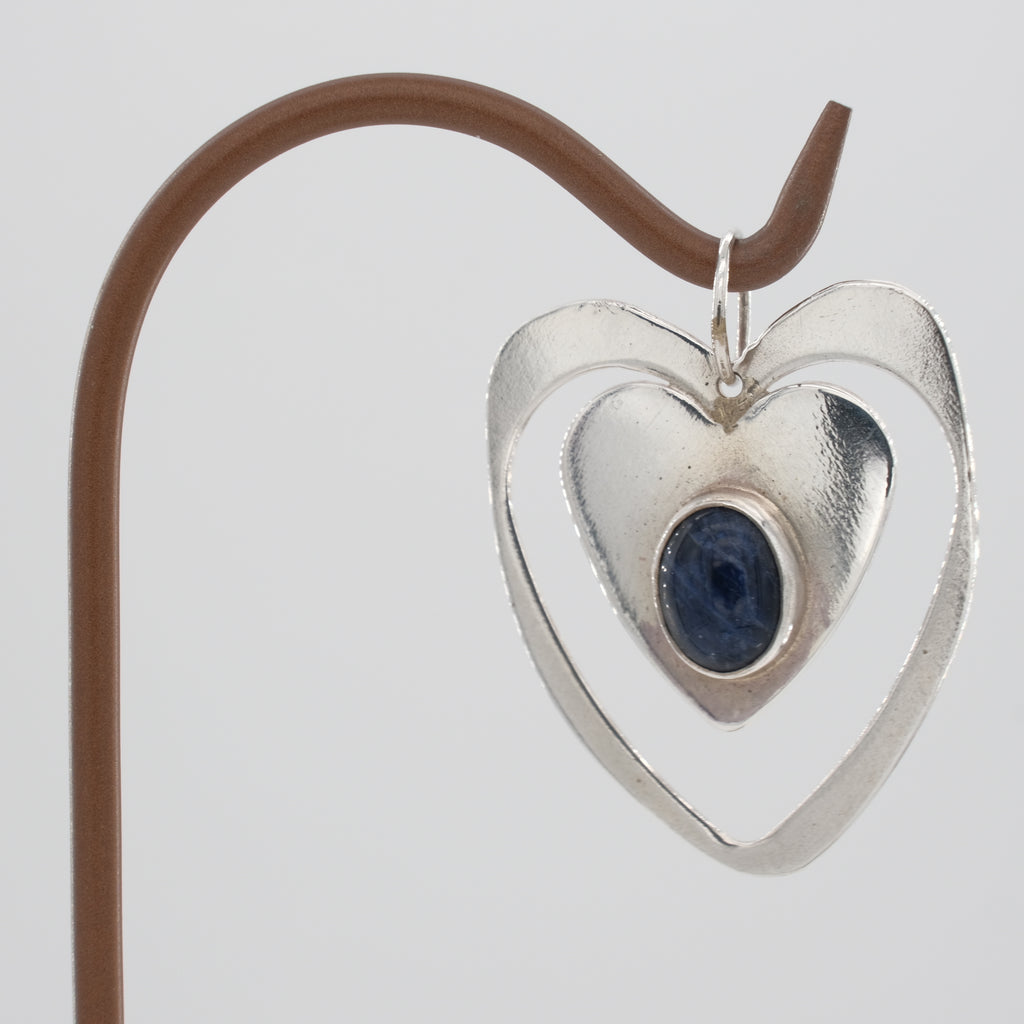 Sterling Silver Double Heart Sodalite Pendant