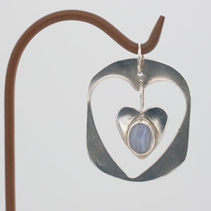 Sterling Silver Double Heart Blue Lace Agate Pendant