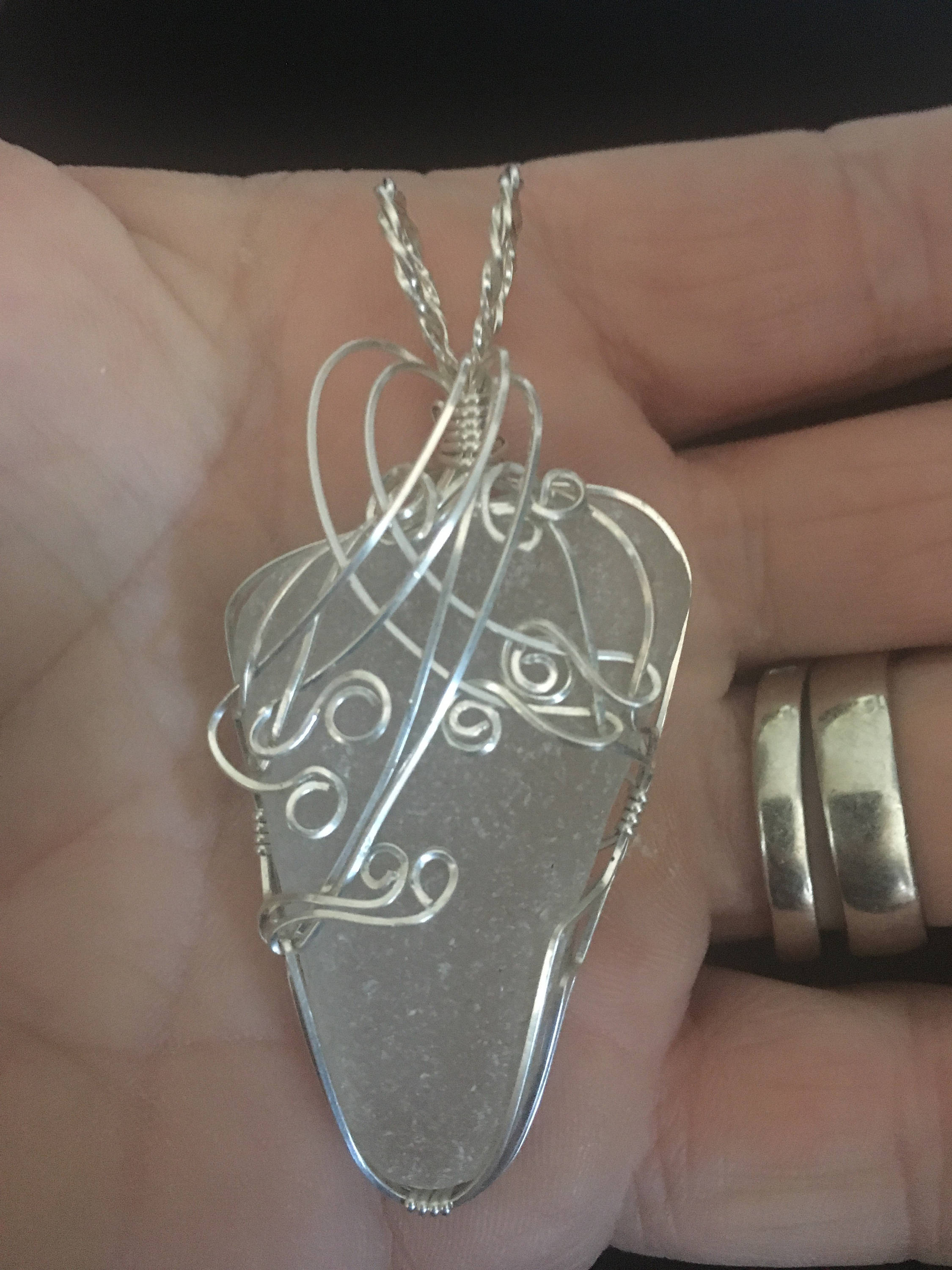 Very large sterling silver wrapped genuine sea glass pendant