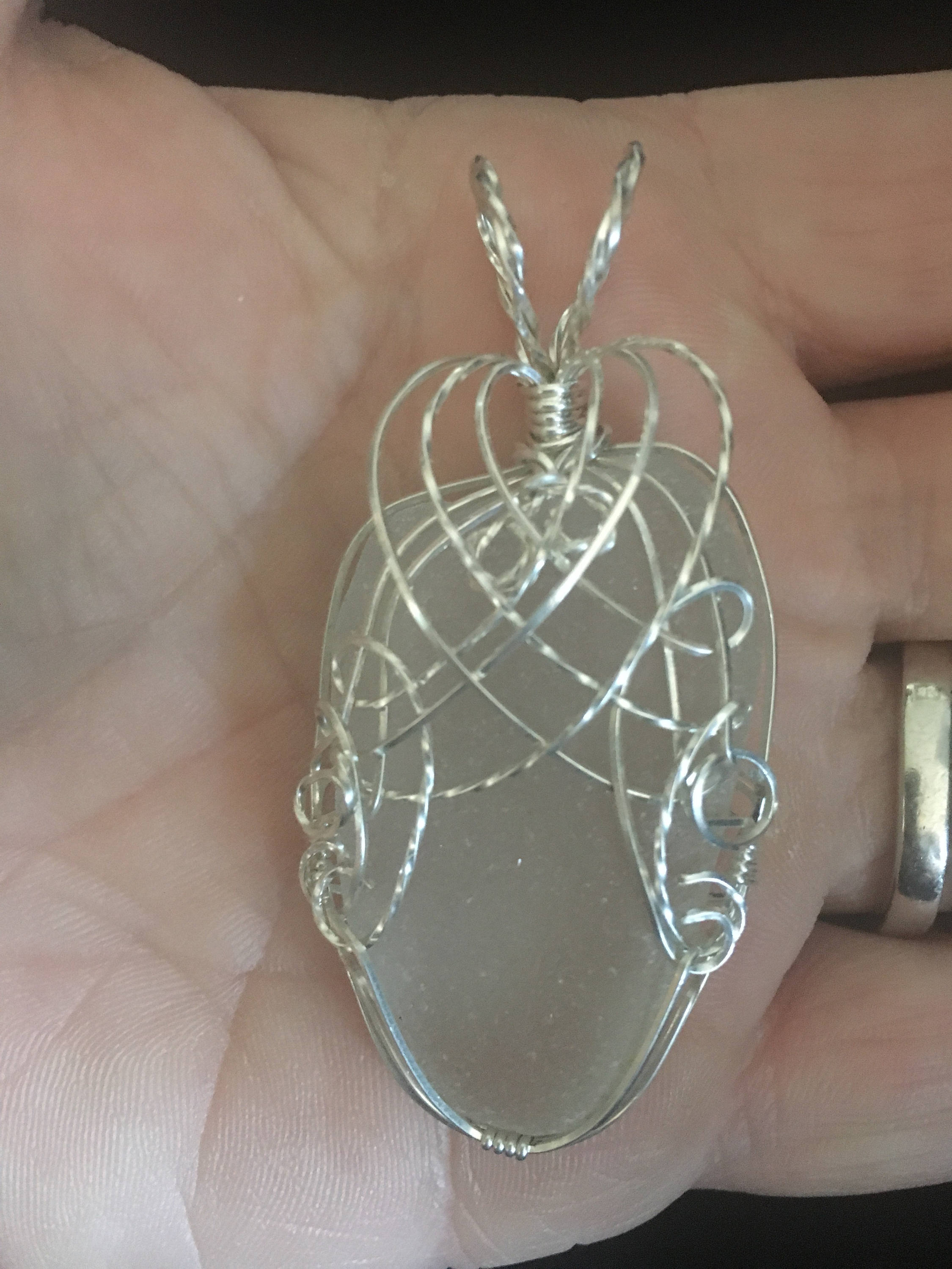 Very large sterling silver wrapped sea glass pendant