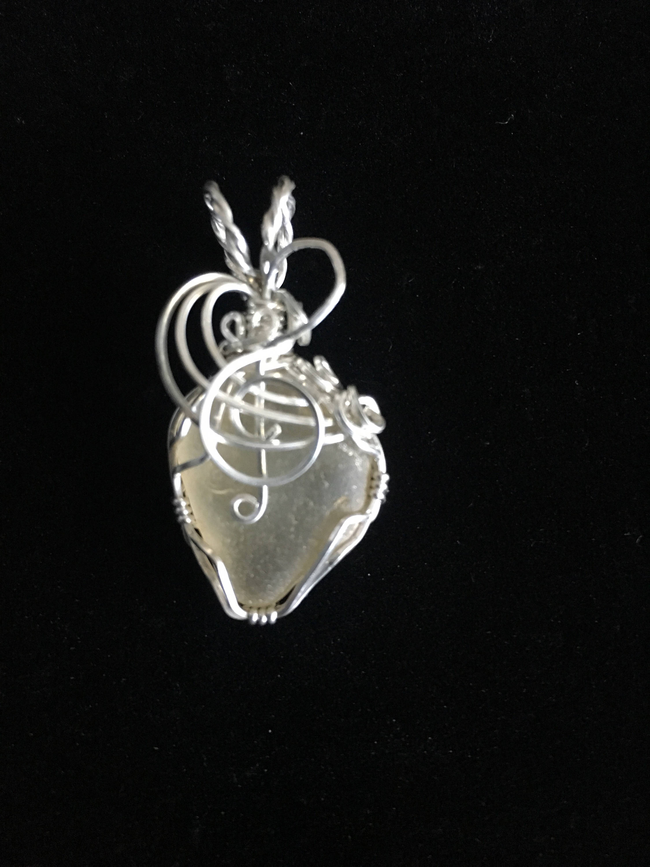 Sterling silver wrapped genuine Yellow Sea glass pendant