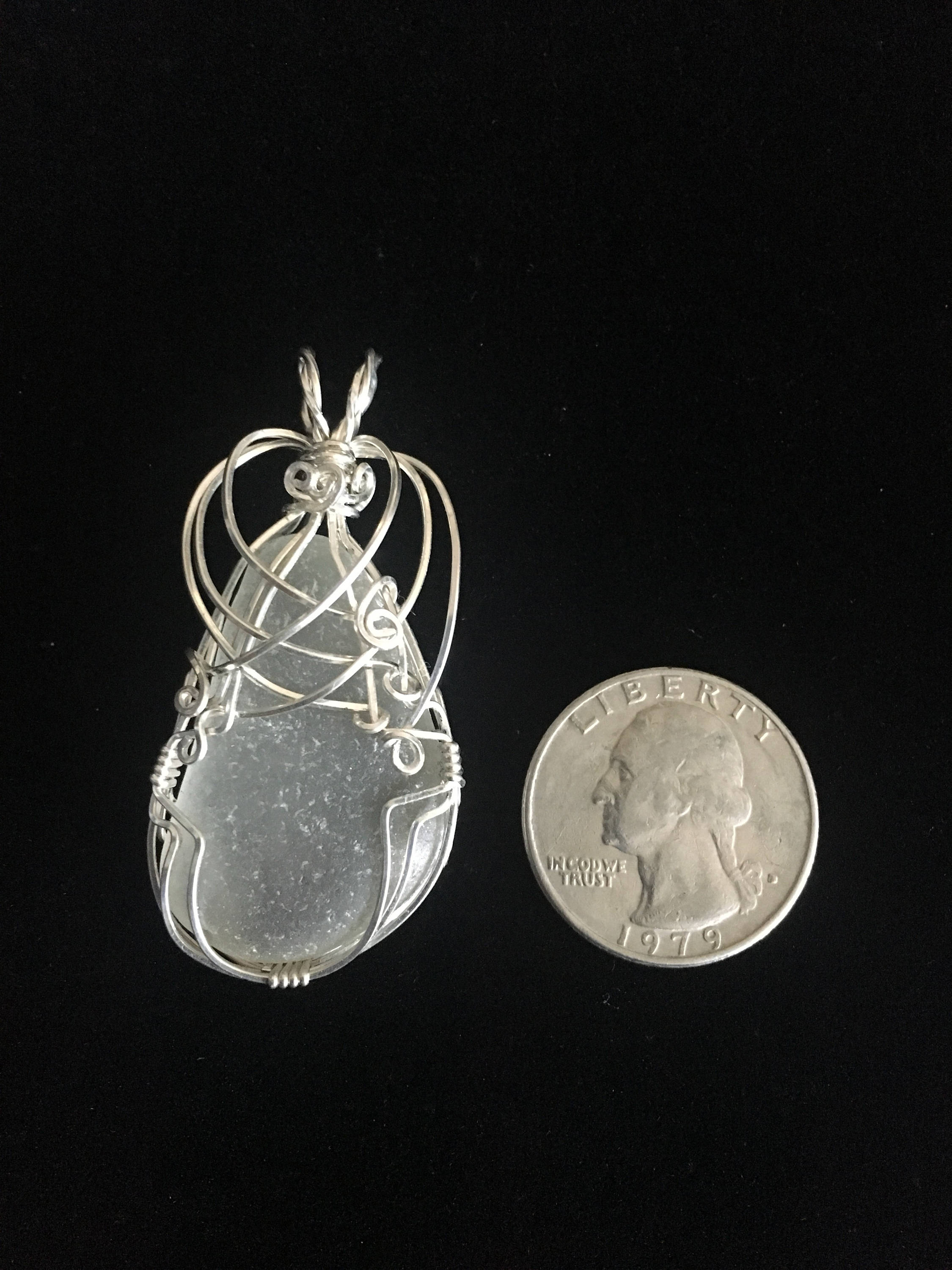 Large sterling silver wrapped genuine sea glass pendant