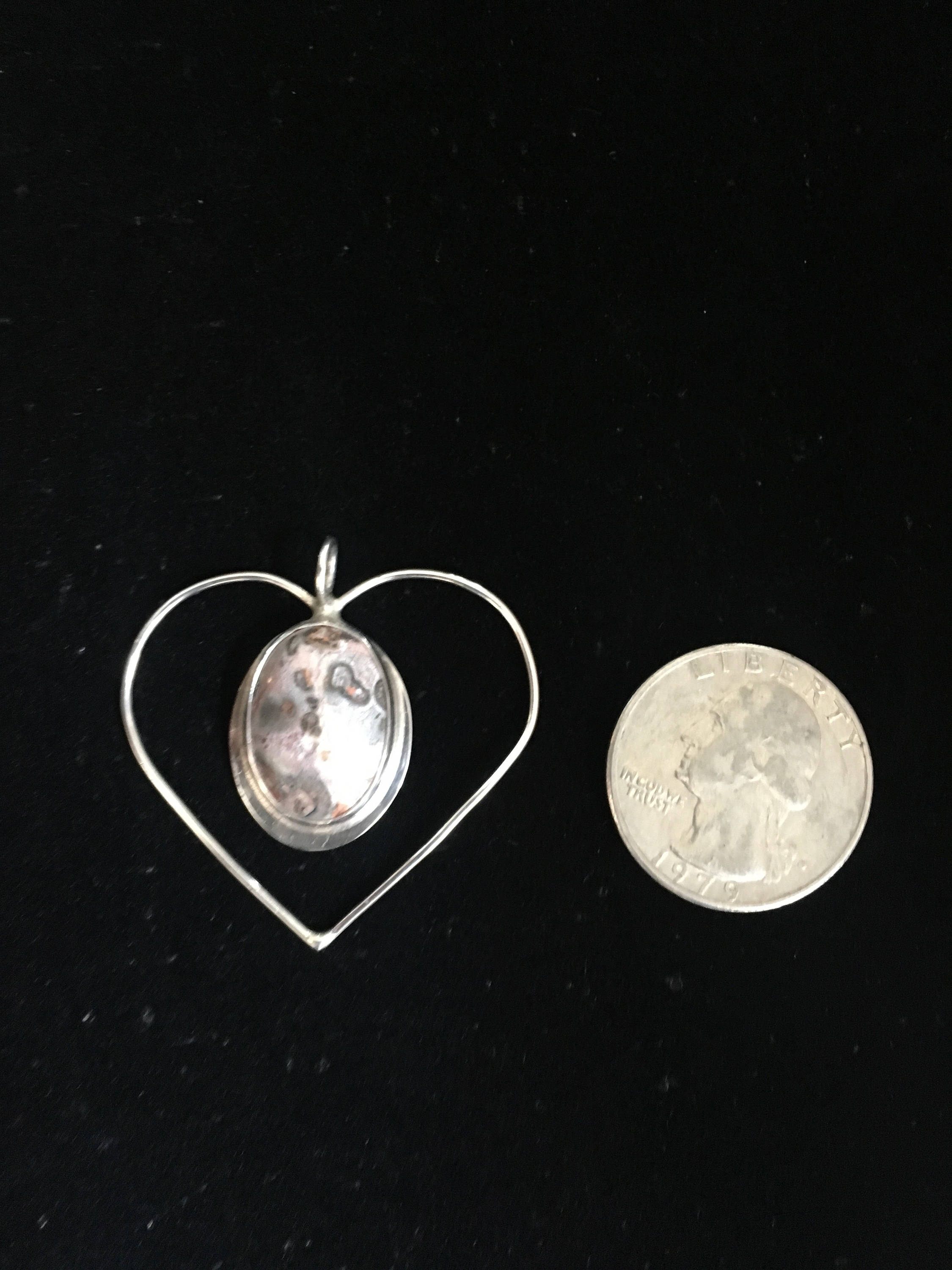 Sterling silver heart pendant with ocean jasper