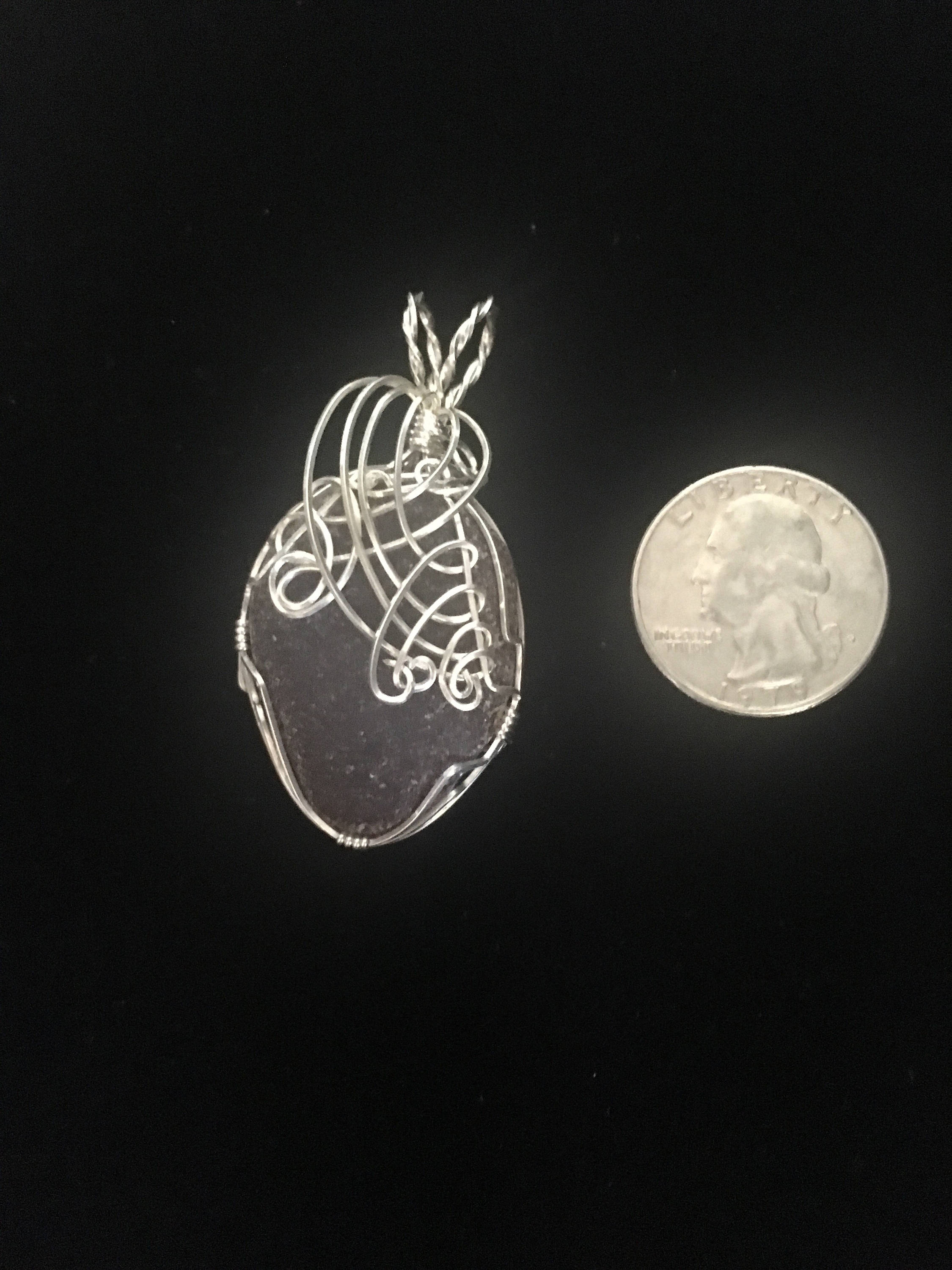 Sterling silver wrapped large genuine brown sea glass pendant