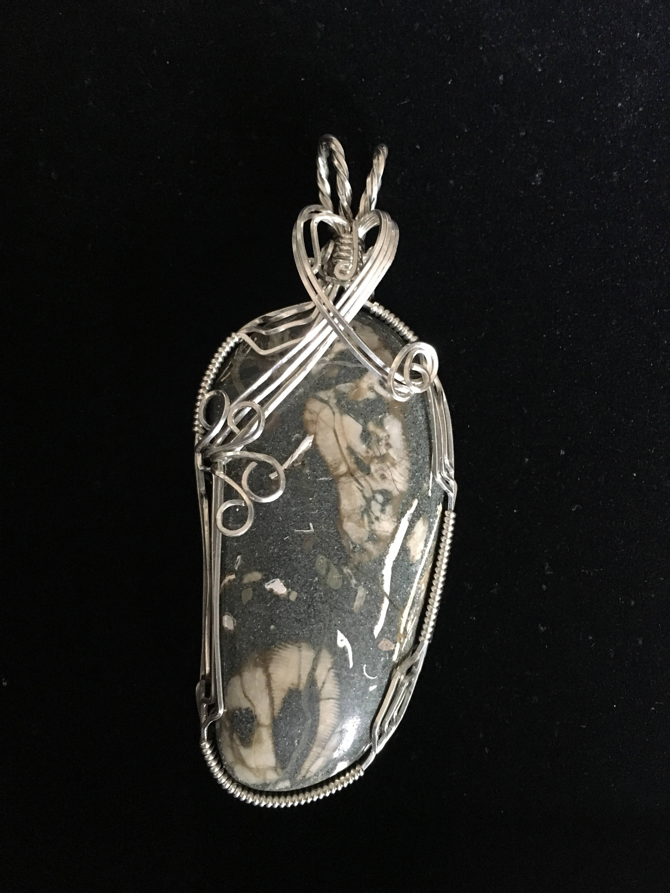 One of a kind Large Sterling Silver Wrapped Ocean Fossil Pendant