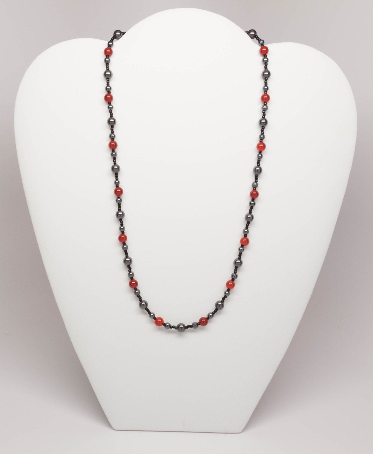 Beautiful Carnelian and Hematite Necklace handmade by LMCK Designs