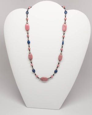 Unique Rhodonite and Lapis Necklace