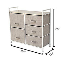 Load image into Gallery viewer, Related east loft storage cube dresser organizer for closet nursery bathroom laundry or bedroom 5 fabric drawers solid wood top durable steel frame natural