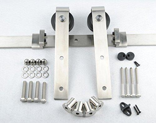 Shop for bd fss satin nickel brushed stainless steel sus304 modern barn wood sliding door hardware track kit for storage room laundry room master bathroom walk in closet double door 16ft 4880mm